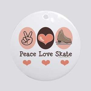 Peace Love Skate Ice Skating Ornament (Round)
