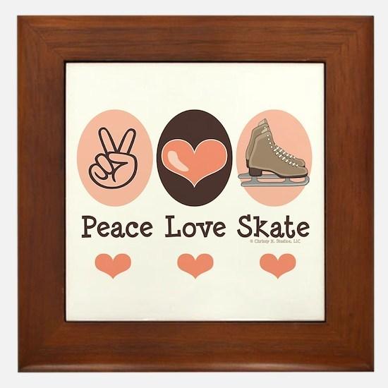 Peace Love Skate Ice Skating Framed Tile
