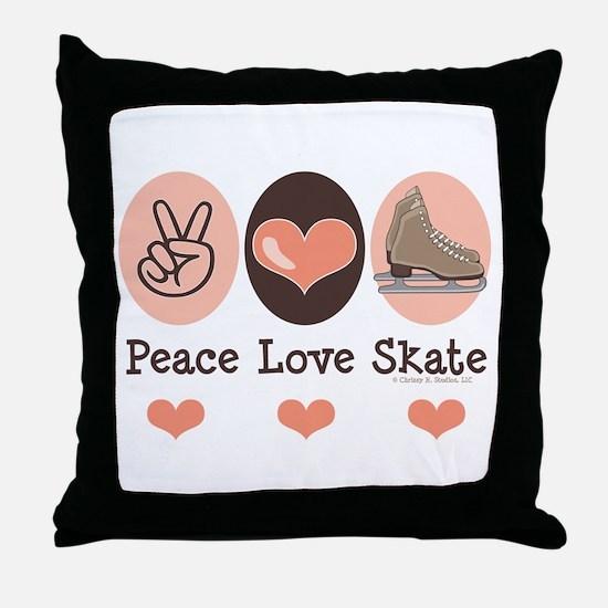 Peace Love Skate Ice Skating Throw Pillow