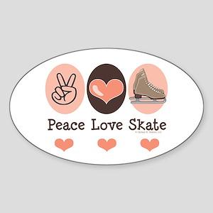 Peace Love Skate Ice Skating Oval Sticker