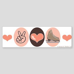 Peace Love Skate Ice Skating Bumper Sticker
