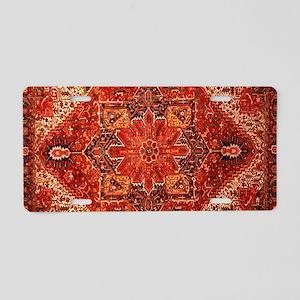 Antique Persian Rug Red Carpet Aluminum License Pl