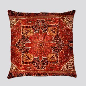 Antique Persian Rug Red Carpet Everyday Pillow