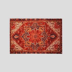 Antique Persian Rug Red Carpet 4' x 6' Rug