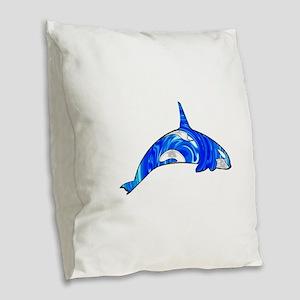 THE CARIBBEAN ORCA Burlap Throw Pillow