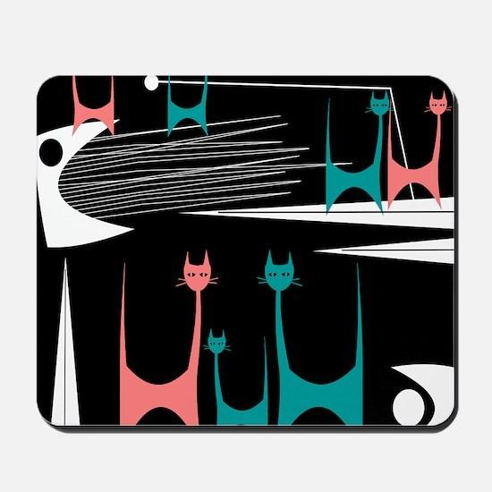 Mid-Century Modern Cats Mousepad