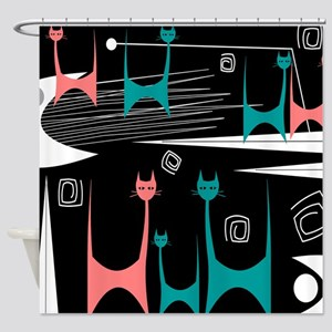 Mid-Century Modern Cats Shower Curtain