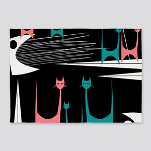 Mid-Century Modern Cats 5'x7'Area Rug