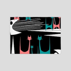 Mid-Century Modern Cats 5'x7'Area Rug