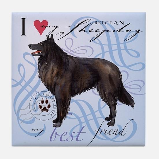 Belgian Sheepdog Tile Coaster