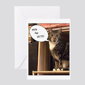 Cat lover birthday greeting cards cafepress youre how old birthday gre greeting card m4hsunfo