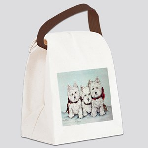 Westies in the Snow Canvas Lunch Bag
