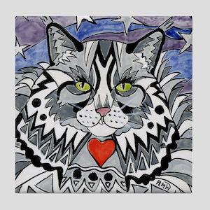 Tabby Cat Gray, Black And White Tile Coaster
