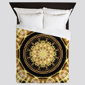 Mandala Gold Geometry Energy Queen Duvet
