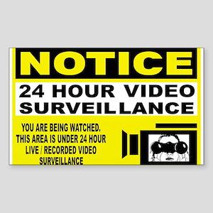 24 Hour Surveillance Rectangle Sticker