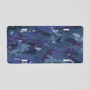 Camouflage: Deep Blue Aluminum License Plate