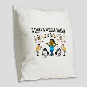 African American Burlap Throw Pillow