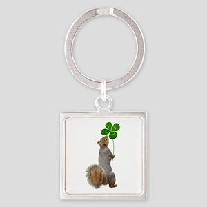 Squirrel 4 Leaf Clover Keychains