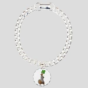Squirrel 4 Leaf Clover Charm Bracelet, One Charm