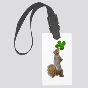 Squirrel 4 Leaf Clover Large Luggage Tag