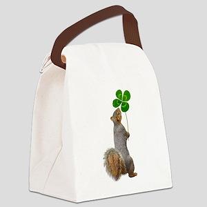 Squirrel 4 Leaf Clover Canvas Lunch Bag