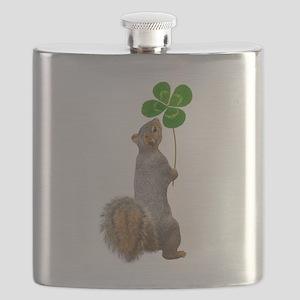 Squirrel 4 Leaf Clover Flask