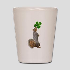 Squirrel 4 Leaf Clover Shot Glass
