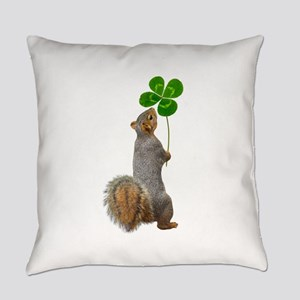 Squirrel 4 Leaf Clover Everyday Pillow