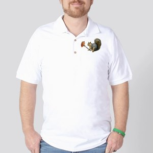 Squirrel Acorn Fork Golf Shirt