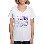 Crochet Purple Women's V-Neck T-Shirt