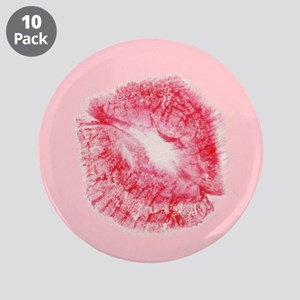 "Valentines Day Sexy Red Lips 3.5"" Button (10 pack)"