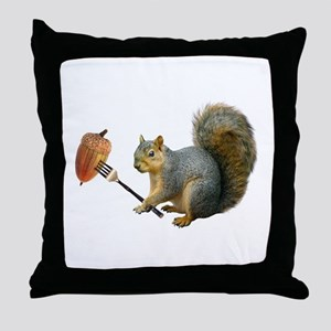Squirrel Acorn Fork Throw Pillow