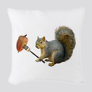 Squirrel Acorn Fork Woven Throw Pillow