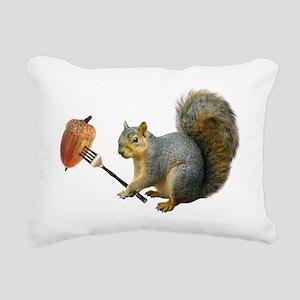 Squirrel Acorn Fork Rectangular Canvas Pillow