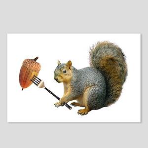 Squirrel Acorn Fork Postcards (package Of 8)