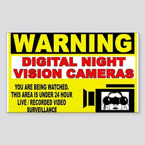Warning Night Vision Rectangle Sticker
