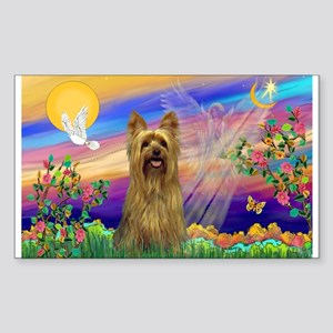 Guardian Angel & Yorkie Rectangle Sticker