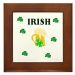 Irish Beer Shamrocks Framed Tile