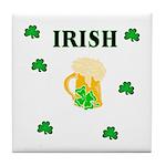 Irish Beer Shamrocks Tile Coaster