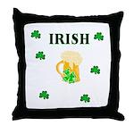 Irish Beer Shamrocks Throw Pillow