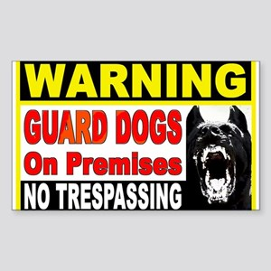 Warning Guard Dogs Rectangle Sticker