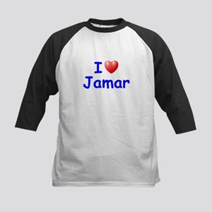 I Love Jamar (Blue) Kids Baseball Jersey