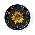 Yellow Daisy on Black Wall Clock