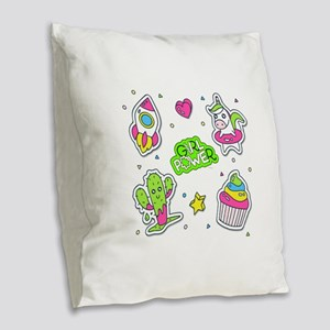 Girl power Burlap Throw Pillow