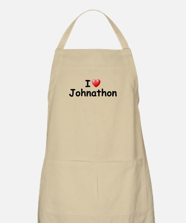 I Love Johnathon (Black) BBQ Apron