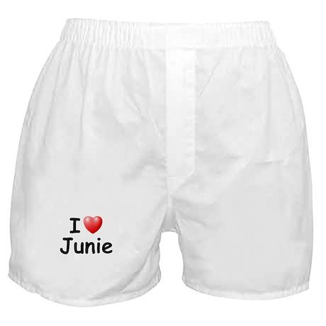 I Love Junie (Black) Boxer Shorts