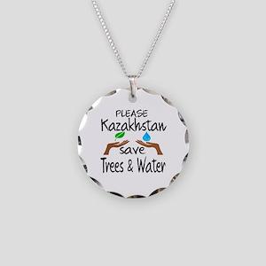 Please Kazakhstan Save Trees Necklace Circle Charm