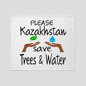 Please Kazakhstan Save Trees & Water Throw Blanket