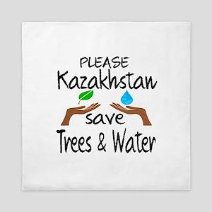 Please Kazakhstan Save Trees & Water Queen Duvet