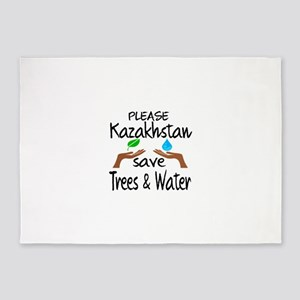 Please Kazakhstan Save Trees & Wate 5'x7'Area Rug